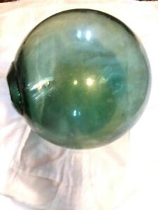 Fishing Float Glass Buoy Ball Japanese Vintage Blue Green 18 Circumference