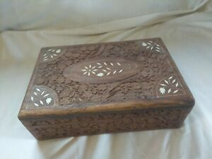 Vintage Wood Hand Carved Hinged Folk Art Box Flower Inlay Design Made In India
