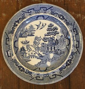 Antique 19th Century Old Blue Willow Dinner Plate 10 Impressed Crown