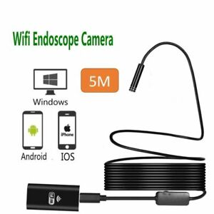 Wireless Endoscope Wifi Borescope Inspection Snake Camera Ip68 Hd 8 Led Lights