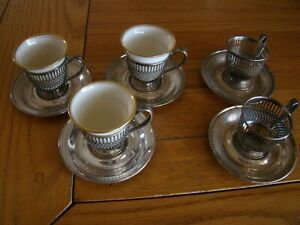 Lenox Lot Of 5 Sterling Silver Lattice Demitasse Cups And Saucers 3 With Inserts