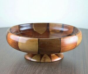 Vintage Inlaid Wood Footed Pedestal Low Bowl Multi Color Star Sun Handcrafted