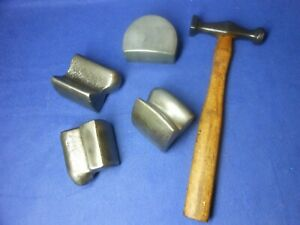 Lot Of Car Auto Body Repair Dollies Dolly Tools W Bumping Finishing Hammer