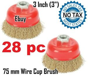 28 Pc 3 Wire Brush Steel Crimp Cup Angle Grinder M14 Rust Paint Removal