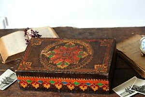 Vintage Wooden Hand Carved Large Keepsake Jewelry Box Handmade And Painted Box