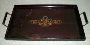 Antique Wood Glass Butlers Tray
