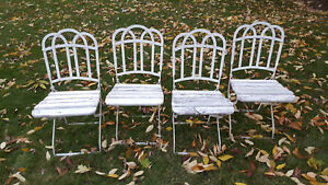 Set 4 Antique Wrought Iron Chairs Garden Folding Matching Wood Seat Local Pickup