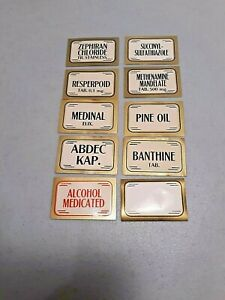 10 Antique Pharmacy Apothecary Bottle Labels Unused New Old Stock Rare Find