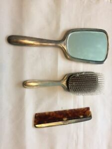 3pc Vtg Us Sterling Silver Vanity Mirror Brush Comb Set By R Blackinton Co