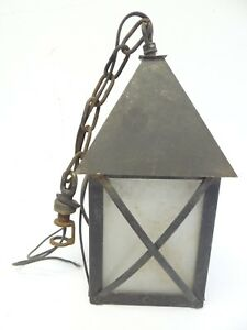 Antique Old Copper Painted Black Hanging Porch Fabricated Light Lantern Parts