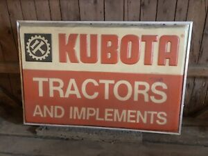 Rare Vintage 4ft X 6ft kubota Tractors And Implements Dealership Sign 1973