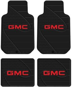 4 Front Rear Gmc Logo Floor Mats Rubber All Weather Factory Liners Black Red
