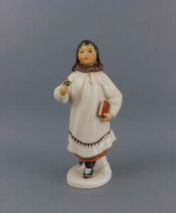 Antique Russian Soviet Lfz Figurine Of Eskimo Girl With Flower By S Velihova