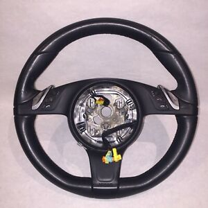 Porsche Cayenne 958 Panamera 970 Steering Wheel 2014 2015 Black Leather Oem
