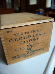 Antique Dovetailed Wooden Box W Lid Old Faithful Colored Chalk Crayons Nice