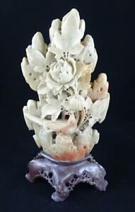 Beautiful Chinese Soapstone Sculpture Floral Bird 11 Intricate Carved