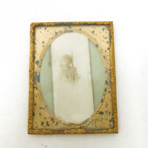 Antique Small Ornate Gold Frame Ethereal Faded Photograph Little Girl