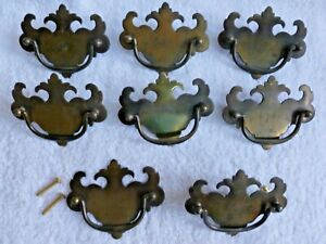 8 Used Antquei Brass Finish Chippendale Style Drawer Pulls Handles 3 Centers