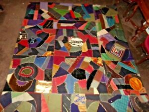 Beautiful Vintage 88 X 78 Hand Stitched Patchwork Crazy Quilt Heavy
