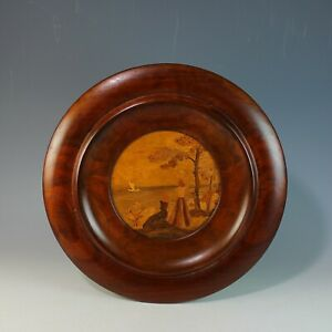 Antique Marquetry Picture Panel In Round Wood Frame