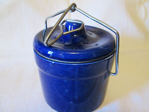 Vintage Cobalt Blue Cheese Or Butter Spatterware Crock With Bale And Seal