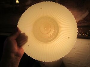 Antique Art Deco Yellow Glass Shade 3 Chain Hanging Light Fixture Shade Only