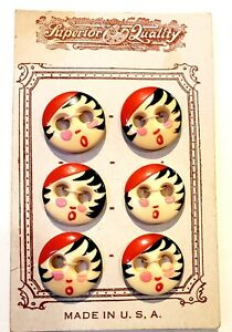 6 Antique Bovine Bone Panty Waist Buttons W Cute Painted Flapper Face On Card