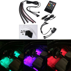 4pcs 8 Color Led Car Interior Light Strip Under Dash Footwell Lighting At010