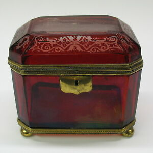 Rare 1851 Large Cranberry Glass Engraved Casket Box Crystal Palace Exhibition