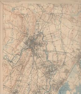Paterson Union Englewood Nj Antique 1920s Ny Us Geological Survey Graphic Map