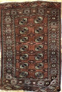 Tremendous Turkmen 1920s Tekke Gul Bokhara Rug Tribal Carpet 3 7 X 5 4 Ft