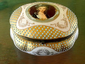Antique Pink Porcelain Hand Painted Portrait Cameo Lady Large Hinged Vanity Box