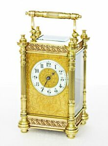 Antique Couaillet Freres French Carriage Clock Filigree Fitted Case Serviced