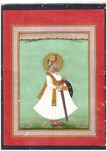 Indian Miniature Painting Fine Bikaner Royal Portrait Collectable Antique
