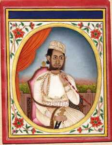Indian Miniature Painting Awadh Mughal Portrait Of A Nawab Fine Gold Decoration