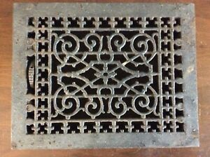 Vtg Floor Grate Heat Register Victorian Industrial Cast Iron With Louvers