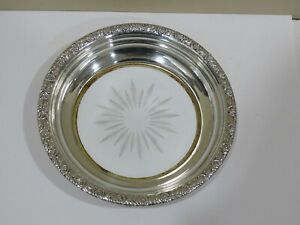 Vintage Sterling Silver Etched Glass Wine Coaster Or Tray 6