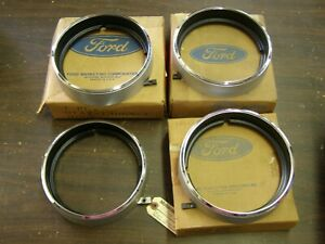 Nos Oem Ford 1971 Galaxie 500 Chrome Grille Headlight Door Rings Painted Set Ltd
