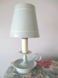 Vintage Powder Blue White Country Cottage Tole Table Reading Baby Room Lamp