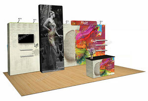 Trade Show Quick Pop up 20ft X 10ft Fabric Exhibition Booth 10ft Tall Shelves
