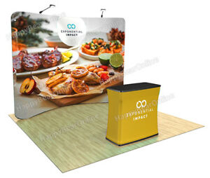Trade Show Booth Waveline 10ft Curved Display Casetopodium 2 Led Lights