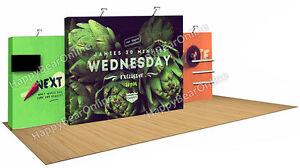 Trade Show Fabric Tension Quick Pop up Booth 20 Ft Tv Monitor Shelves z 02