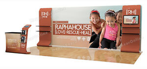 Trade Show A8 Display Booth Package 20ft tv Stand Display Shelves