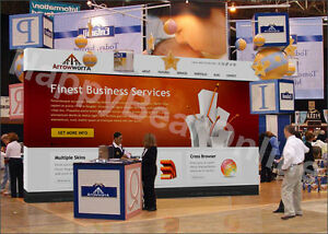 Trade Show Fabric Tension Pop up Booth 20ft 10ft Tall 10ft In Height