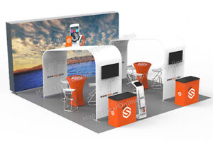 Trade Show Waveline 20ft X 10ft Fabric Exhibition Booth With Graphic 2020 15