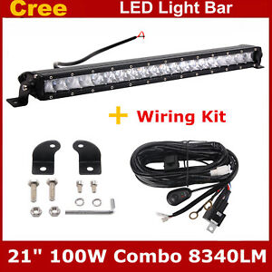21 Inch 100w Led Sinlge Row Light Bar Offroad Fog 4x4wd Driving Ford Wiring Kit