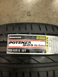 2 New 255 45 18 Bridgestone Potenza S 04 Pole Position Tires