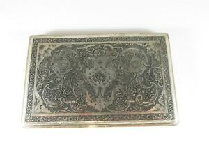 Early 1900 S Persian Silver Cigarette Case Islamic Decorated 176 Grams