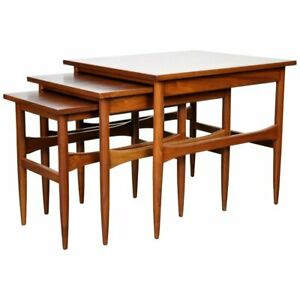 Set Of Mid Century Walnut Nesting Side End Occasional Tables 1960s Danish Modern