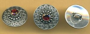 Sterling Silver Button With Faceted Garnet And Granulation